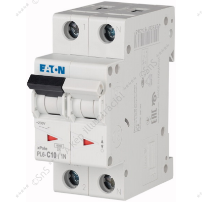 Kismegszakító 1P+N 10A 6kA PL6-C10/1N 106032 Eaton